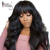 250% Плотность 13x6 Синтетические волосы на кружеве парики человеческих волос с челкой Бразильский объемная волна Синтетические волосы на кру