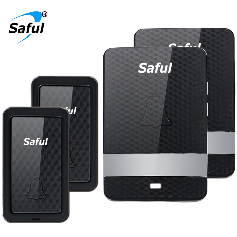 Saful Waterproof Wireless Doorbell Self-powered Newest 100M remote 28 rings with 2 Outdoor Transmitter+2 Indoor Receiver