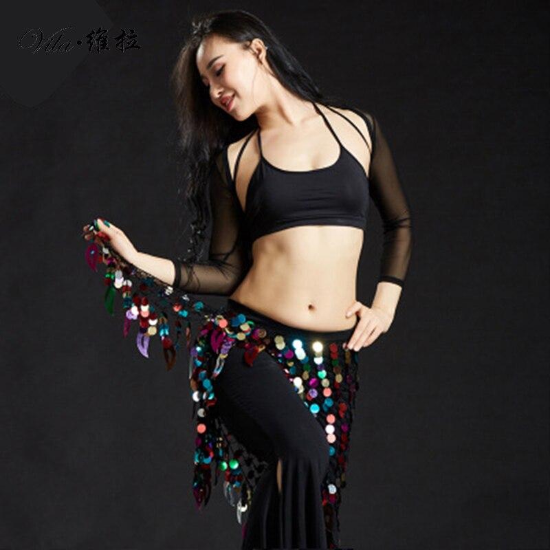 Womens Fringe Sequins Belly Dance Belt Indian Mermaid Dancing Hip Scarf Costumes