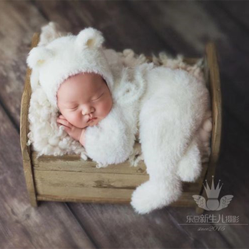 Dress Fuzzy Bear-Outfits Newborn-Baby for Photography-Props Handmade