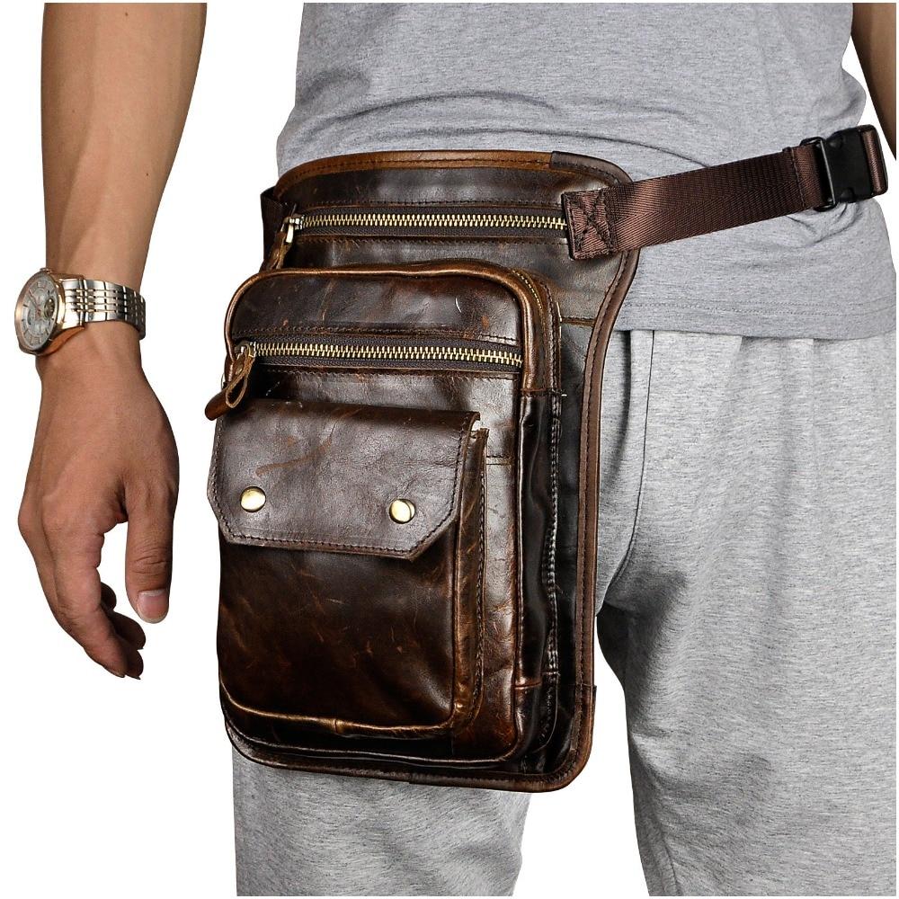 Real Leather Men Design Casual Messenger Shoulder Sling Bag Fashion Multifunction Waist Belt Pack Drop Leg Bag Waist Pouch 838