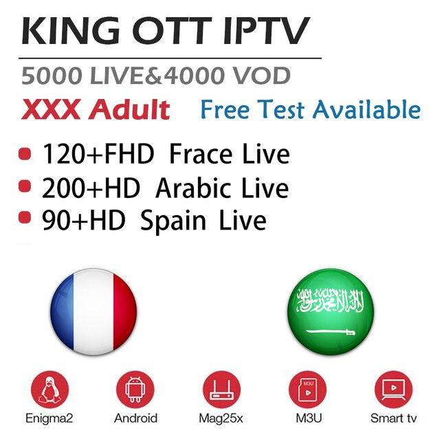 Suscripción de rey francés OTT IPTV España Portugal IPTV para MAG M3U Enigma2 Android IPTV francés árabe adulto IPTV TX3Mini 2G 16G
