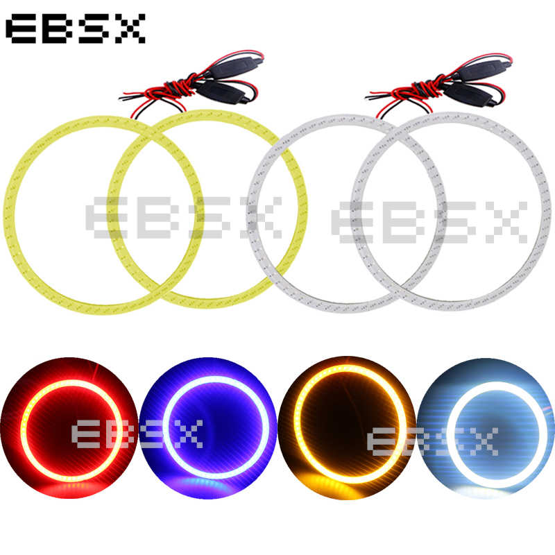 EBSX 2 pairs Car Halo Ring COB 60MM 70MM 80MM 90MM 100MM 110MM 120MM Angel Eyes 12V/24V DC White Red Blue Yellow Car Day Light