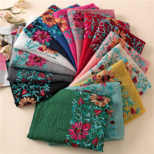 2018 Winter Embroidered Floral Viscose Scarf Shawl From Indian Bandana  Print Cotton Scarves and Wraps Foulard Sjaal Muslim Hijab 9c4abcc51d7