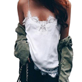 Sexy Fringe Lace Strap Bustier Tank Top Fashion Deep V Neck Sleeveless Backless Floral Women Tops Club Party Plus Size Top
