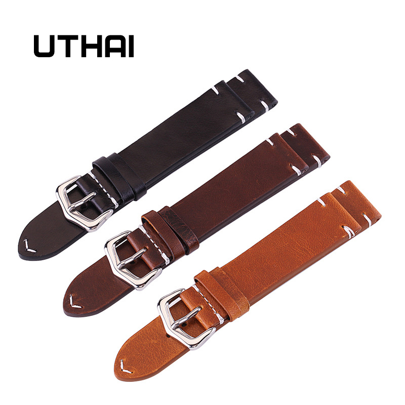 UTHAI Z13 18mm 20mm 22mm 24mm High-end Retro 100% Calf Leather Watch band Watch Strap with Genuine Leather Straps Free shipping eache 20mm 22mm 24mm 26mm genuine leather watch band crazy horse leather strap for p watch hand made with black buckles