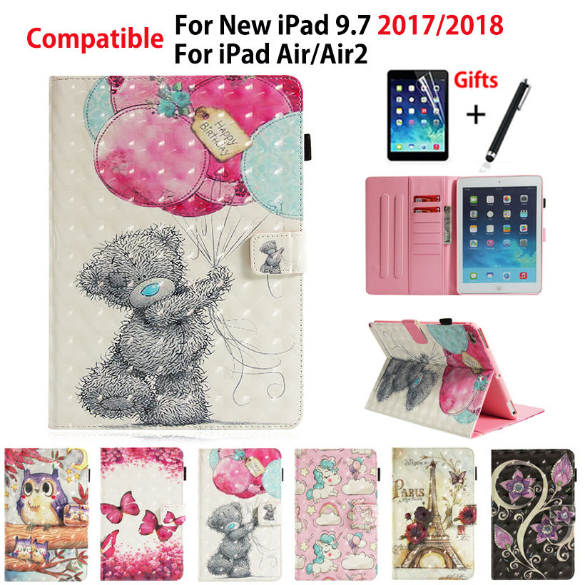"""Case For Apple iPad 9.7"""" 6th Generation 2018 2017 A1893 A1954 Cover For iPad Air 1 2 Funda 3D Painted Stand Shell +Stylus+film-in Tablets & e-Books Case from Computer & Office on AliExpress - 11.11_Double 11_Singles' Day 1"""