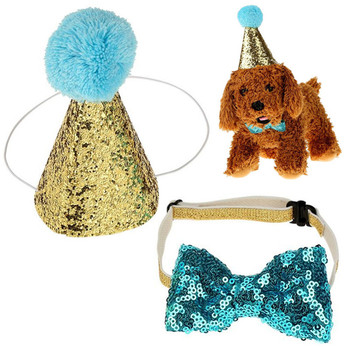 Caps For Dogs Pet Cat Dog Birthday Bowknot Costume Headwear Caps Hat Birthday Party Costume Headwear Pet Accessory