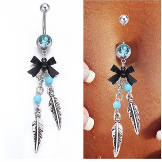 Blue Dream Catcher Belly Button Ring blue Crystal Surgical Steel Navel Piercing Nombril Dream Catcher 26
