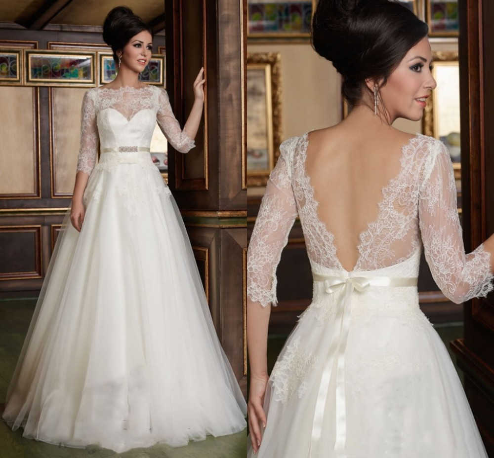 Bridal gown tailored a line 3 4 sleeves lace top soft for Tulle wedding dress with sleeves