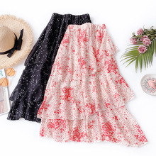 Summer New Arrival Women Skirt Ruffles Printing Long Chiffon Polyester Stitching Korean Style Free Shipping