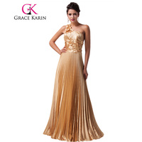 Free Shipping 1pc Lot The Most Beautiful Luxury Grace Karin Designer Long Golden Formal Evening Wedding