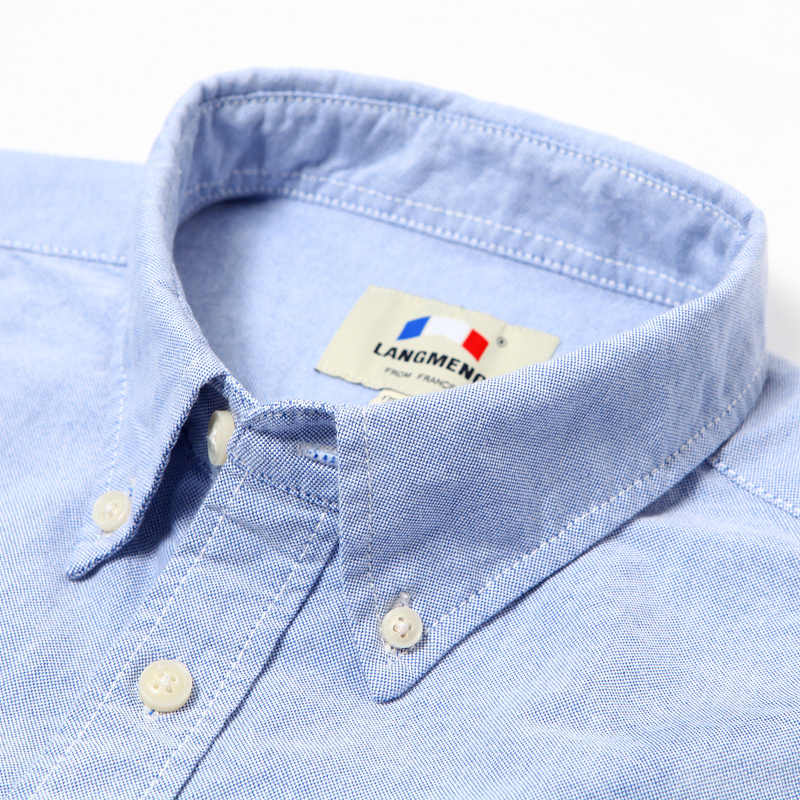 Langmeng 2019 綿 100% 春メンズカジュアルシャツ長袖スリムフィット服の男ドレスシャツカミーサソーシャルシュミーズオム
