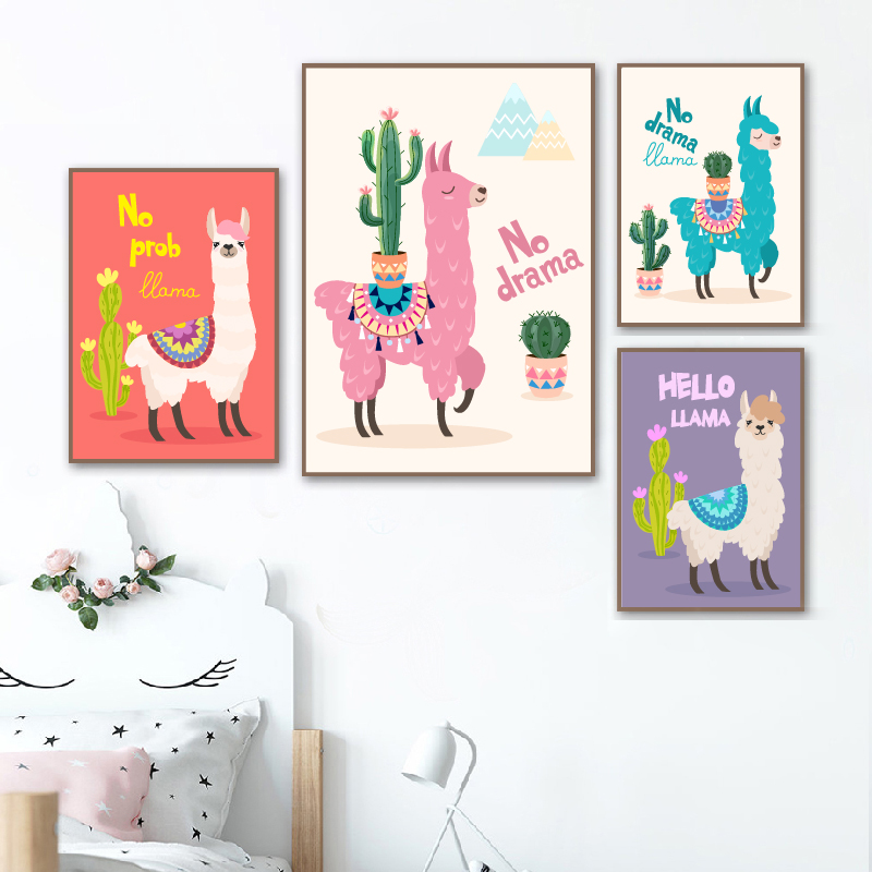 Us 2 65 30 Off Nursery Decor Prints And Posters Cartoon Llama With Cactus Canvas Painting Cute Animal Alpaca Picture Baby Room Wall Decoration In