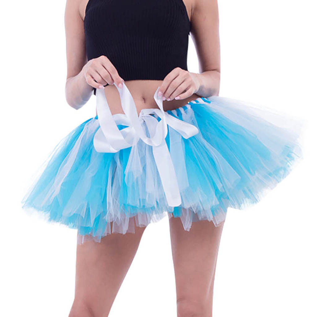 Womens High Quality Pleated Gauze Short Skirt Adult Tutu Dancing Skirt  Tulle Lace Skirts Women Long Petticoat Ball Skirt 7.5