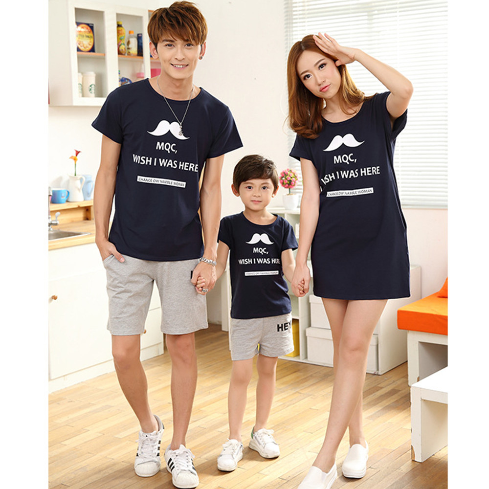 f2f146666b Family Look Matching Clothing Mother Daughter Dresses Cartoon Beard  Vestidos Tops T-shirts Baby Girls Boy Clothes For Father Son