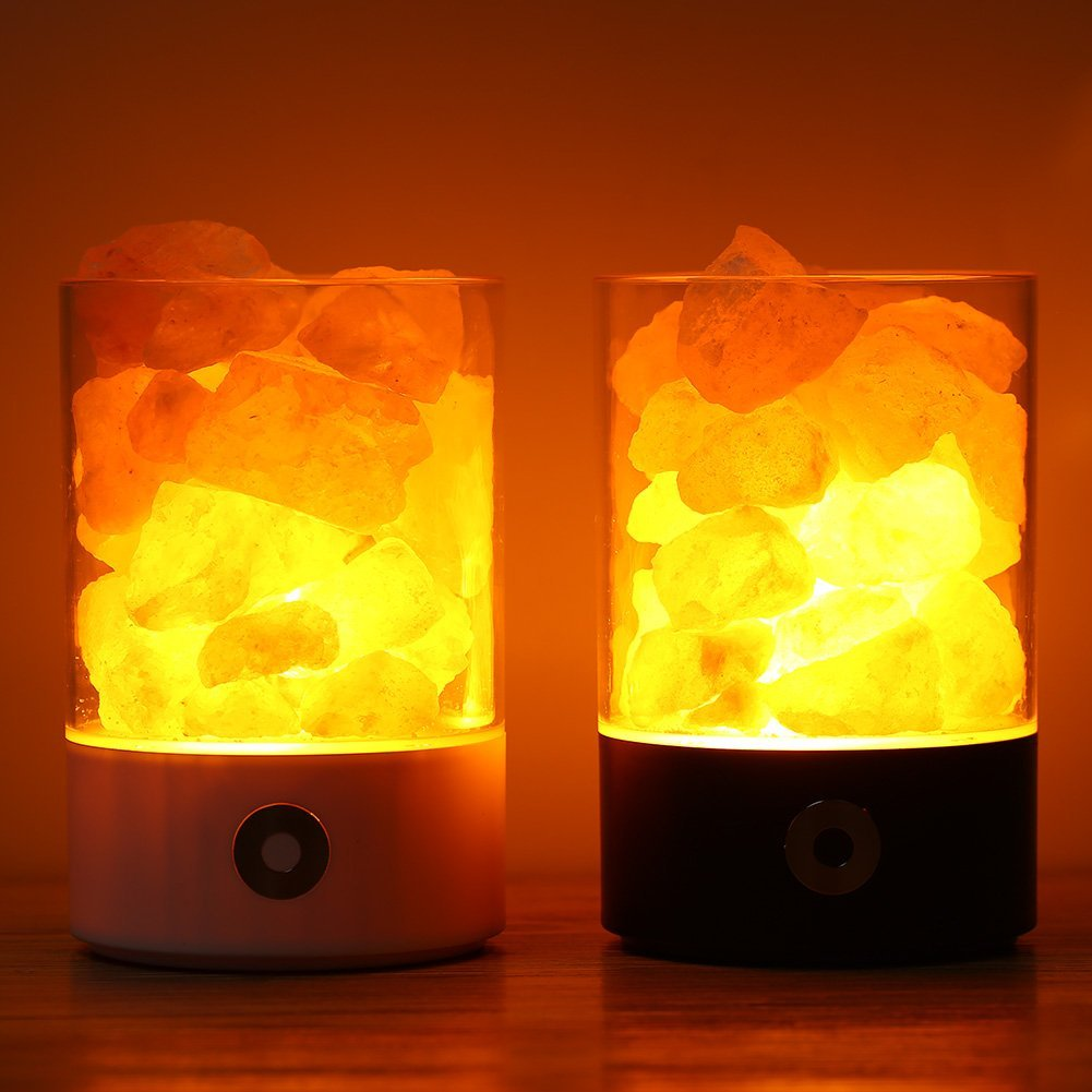 USB Real Himalayas Salt Crystal Rock Lamp Good For Health Small Mineral Negative Ionic Stone Lava Salt Night Light For Bedroom