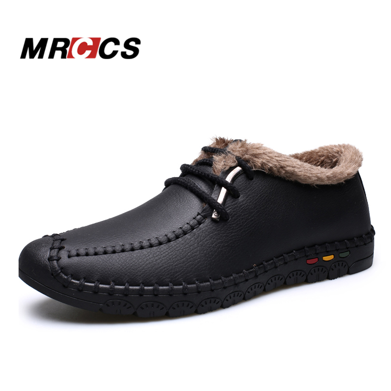 MRCCS Winter Warm Fur/Autumn Single Ultra Soft Mens Loafers,Leather Casual Style Shoe,Handmade Vintage Male Moccasin Classical