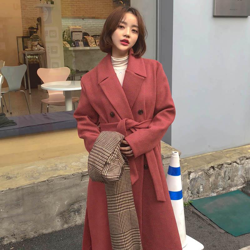 Women Winter Long Red Overcoat Cristmas Parka Coat Plus Size Loose Notched Cardigan Raincoat Manteau Femme Hiver Abrigo Mujer