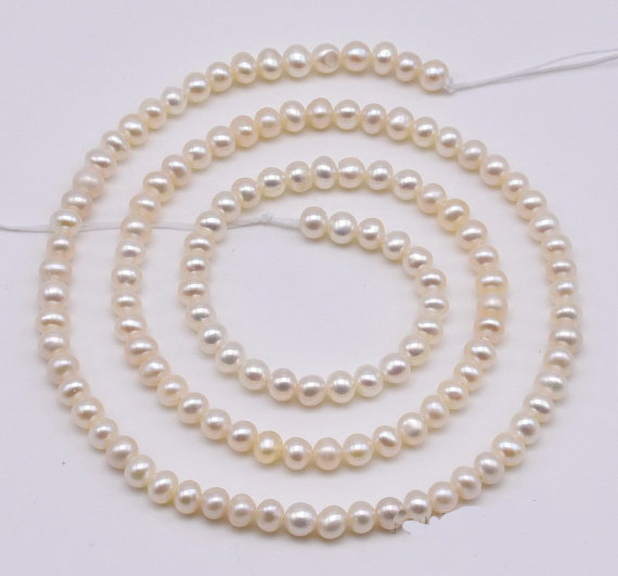 Genuine Freshwater Pearls Loose Beads White Color 3 4mm Off Round Natural Pearl Jewellery One Full