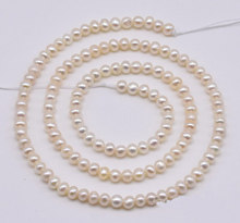 Genuine Freshwater Pearls Loose Beads,White Color 3-4mm Off Round Natural Pearl Jewellery,One Full Strand,Free Shipping(China)