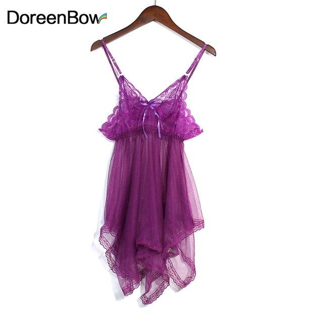 a4363b2dbb6d0 Doreenbow امرأة مثير قمصان النوم الدانتيل قدس خارج زلة ثوب النوم الأرجواني  شبكة أكمام الصيف 1