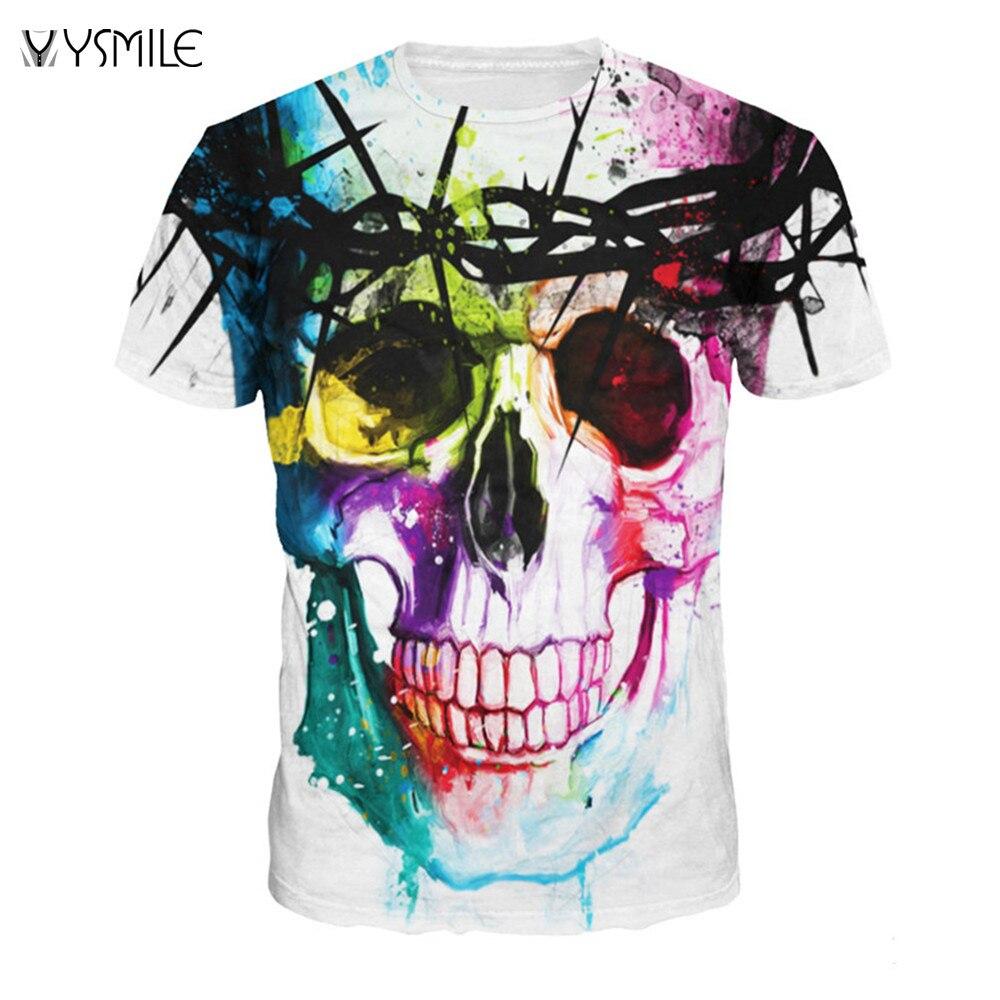 YSMILE Y Fashion Brand T-shirt Men Hip Hop 3d Print Skulls Motorcycle Shirts Harajuku T-shirt Summer Punk Tees Short Sleeve Tops