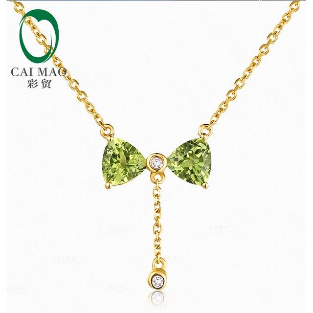14 K Oro Amarillo 1.59ct Billones Cut Peridot & 0.026ct Naturales Diamantes Precioso Colgante de Collar de Compromiso Envío gratis
