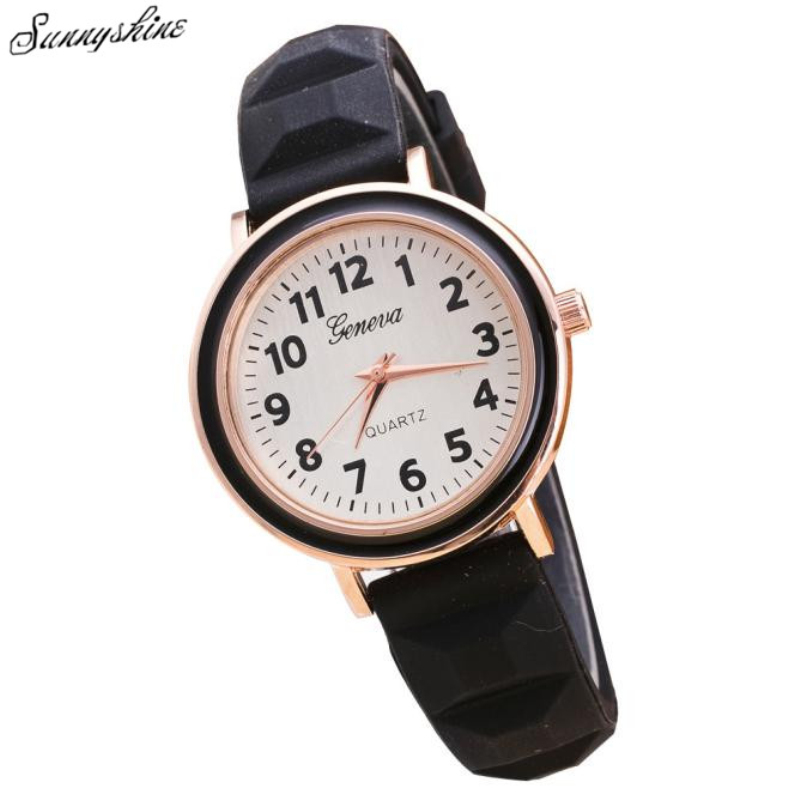 цены  New Fashion Women Watches Round Dial Silicone Band Quartz Analog Wrist Watch wholesaleF3