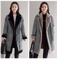 faux fur Wool Blend Coat Women mid long coats Turn down Collar Outwear plaid Jacket Casual Autumn Winter Elegant Overcoat Parka