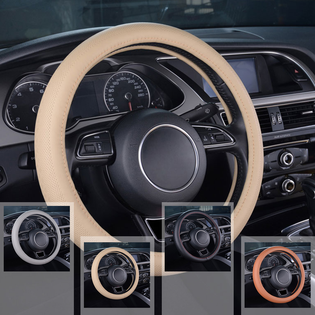 Dewtreetali 38cm Car Steering Wheel Cover Genuine Leather Elegant Luxury Auto Interior Accessories Car Styling for Ford Focus 2