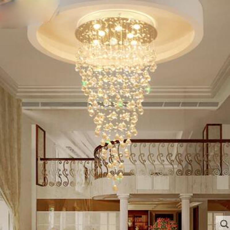Double staircase chandelier Spiral staircase lamp Long chandelier Villa stairs Crystal chandelier Meteor shower Living room lamp