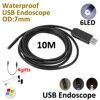 7mm Windows Endoscop USB Camera 10M 5M 2M IP67 Waterproof Inspection Flexible Snake USB Tube Pipe