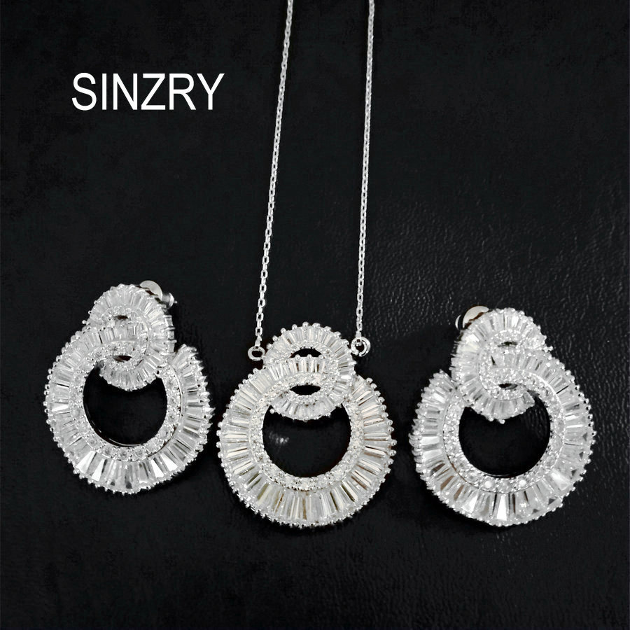 SINZRY Luxury jewelry set Clear white AAA cubic zirconia circle to circle brilliant pendant necklace earring set for women vintage rhinestone circle necklace for women
