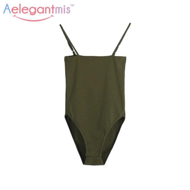 Aelegantmis Spaghetti Strap Sexy Backless Bodysuit Women 2018 Summer Bodycon Camisole Bodysuits Black White Jumpsuits Tops