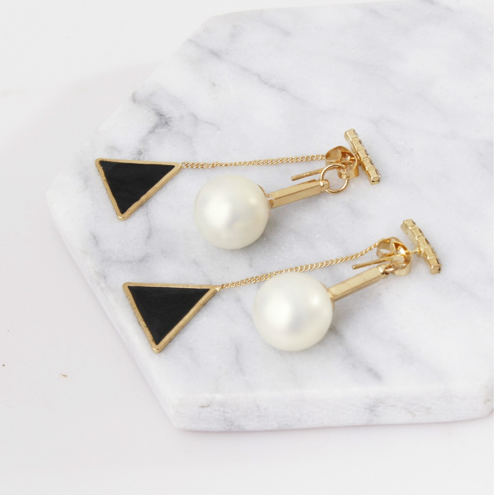 Nowadays the latest Korean ladies pearl triangle tassel exquisite long earrings girls the best gift