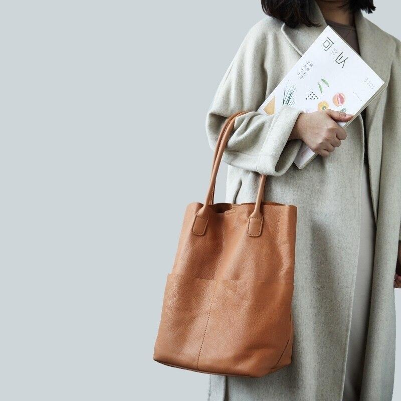 100% doux en cuir véritable femmes sacs à bandoulière mode grande capacité seau sac femme sacs à main de haute qualité dames sac à provisions - 5