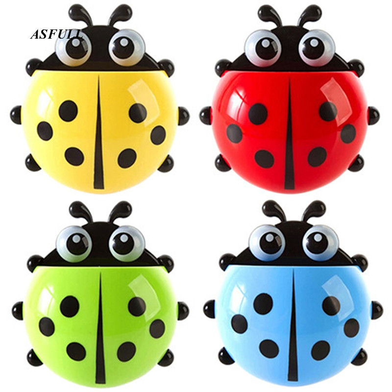 ASFULL Cartoon Cute Ladybug Sucker Toothbrush Holder suction Hooks Household Items toothbrush rack bathroom sets