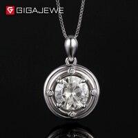 GIGAJEWE желтовато 1.5Ct 8 мм Лаборатория Grown Moissanite камень кулон Цепочки и ожерелья для Для женщин Подлинная Silver Модные украшения