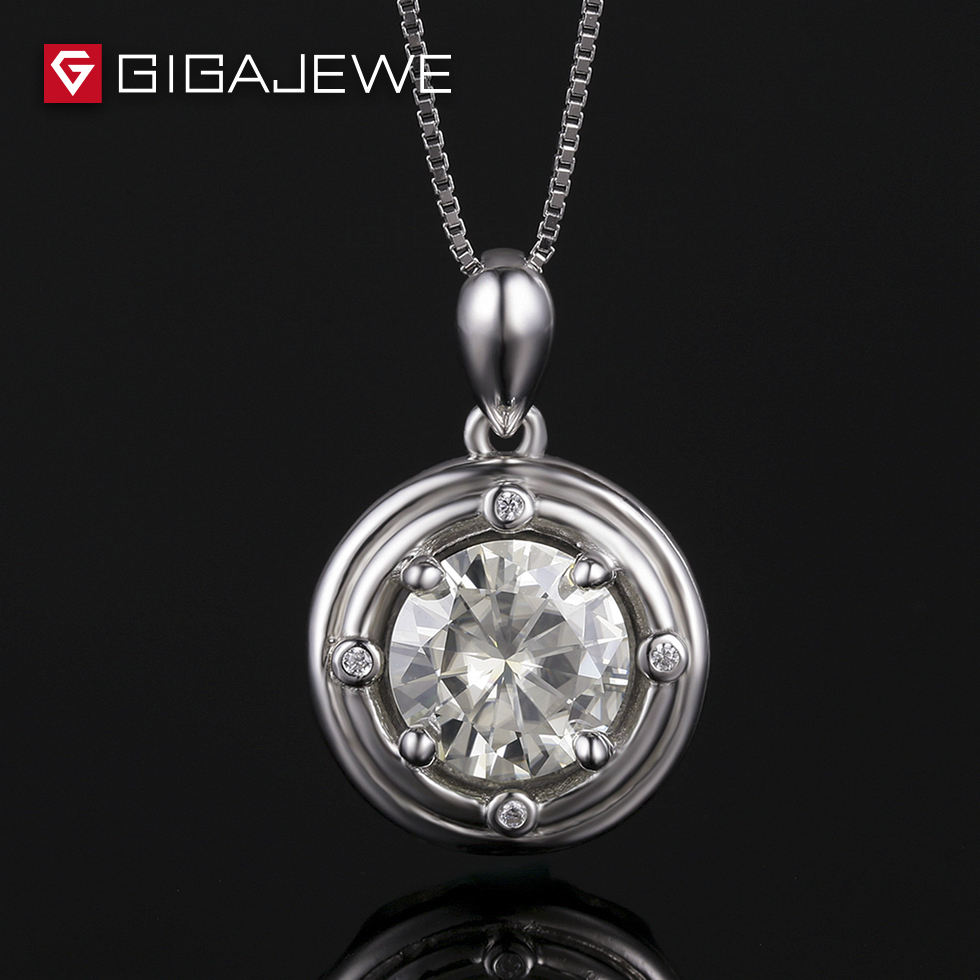 GIGAJEWE Yellowish 1.5Ct 8mm Lab Grown Moissanite Stone Pendant Necklace For Women Genuine Silver Fashion Jewelry
