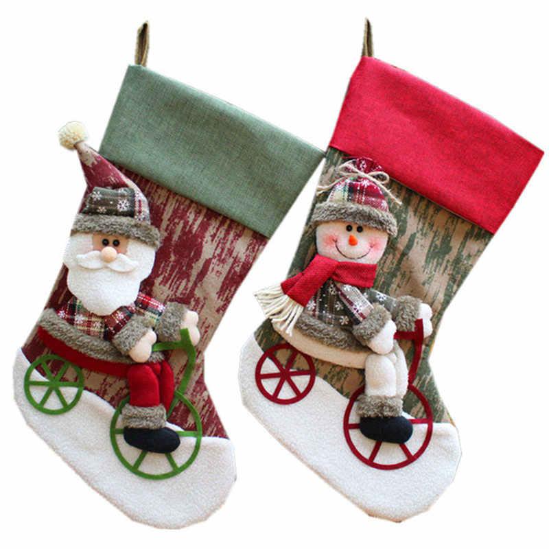 Санта Клаус украшения Рождественские носки для конфет мешки рождественские носки сумка Новый год украшения дома подарки сумка Presente натальные