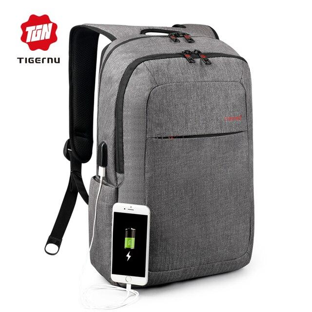 2017 Tigernu 캔버스 남성 배낭 가방 브랜드 14.1 인치 노트북 노트북 Mochila 남성 방수 다시 팩 학교 배낭 가방