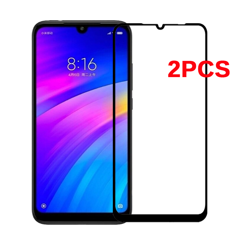 2 Pcs Glass For Xiaomi Redmi 7 Tempered Glass Full Cover Protective Safety Film On Red Mi 7 Redmi7 Mi7 Global Screen Protector