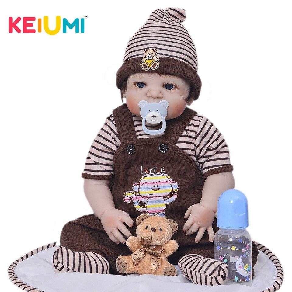 KEIUMI 23 Pollici Carino Reborn Baby Doll Ragazzo Fatto A Mano In Silicone Reborn Dolls Completo Del Corpo Del Vinile Neonati Giocattolo Per Il capretto di regali di compleanno