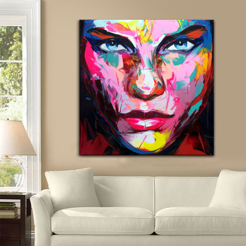 Palette knife painting portrait Palette knife Face Oil painting Impasto figure on canvas Hand painted Francoise Nielly 16-38