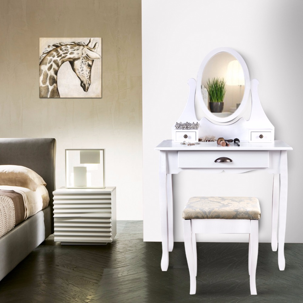 LANGRIA Makeup Dressing Table Vanity And Stool Set With Adjustable Swivel  Oval Mirror 3 Drawers And Curved Solid Rubberwood Leg