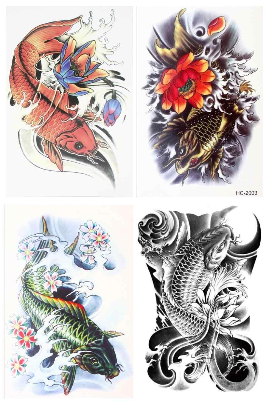 cad755894 4 pcs/set Waterproof Temporary Japanese Carp Body Art Beauty Makeup Tattoo  Stickers