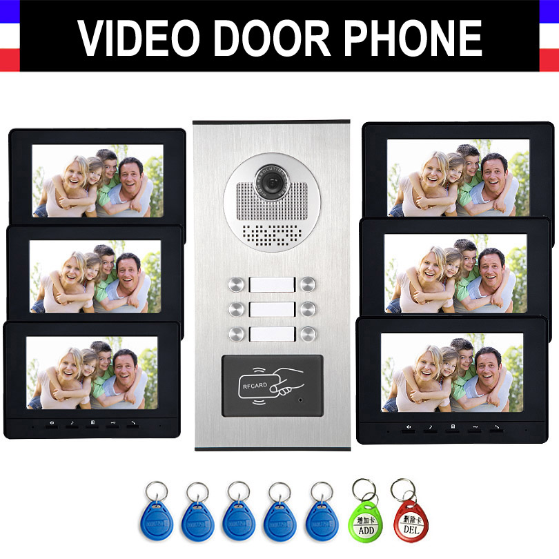 6-12 Units Apartment Intercom System Video Intercom Video Door Phone Kit 7 Inch Monitor With RFID Keyfobs For Household