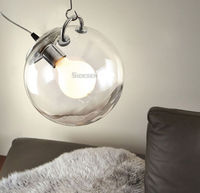 Modern DIY Ceiling Lamp Ball Crystal Clear Glass Pendant Lighting Bulb Home Cafe