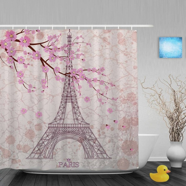Eiffel Tower Decor Shower Curtain Pink Cherry Blossoms Bathroom Shower  Curtains Waterproof Mildew Polyester Fabric With